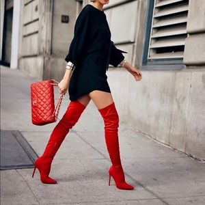 Shoes - Red thigh high boots